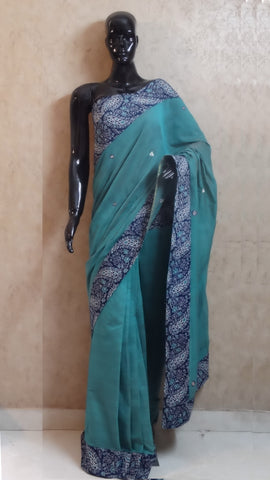 Turquoise Blue Chanderi Saree with Hand Block Print Border