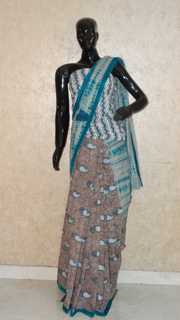 Pure Cotton Block Print n Shibori - Half 'n' Half Saree