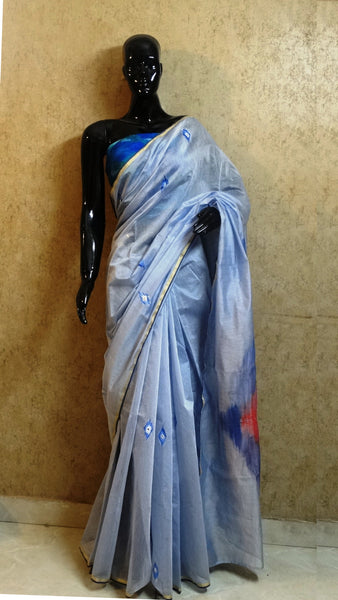 Pure Chanderi Silk Hand Painted Saree - Ikat Pattern