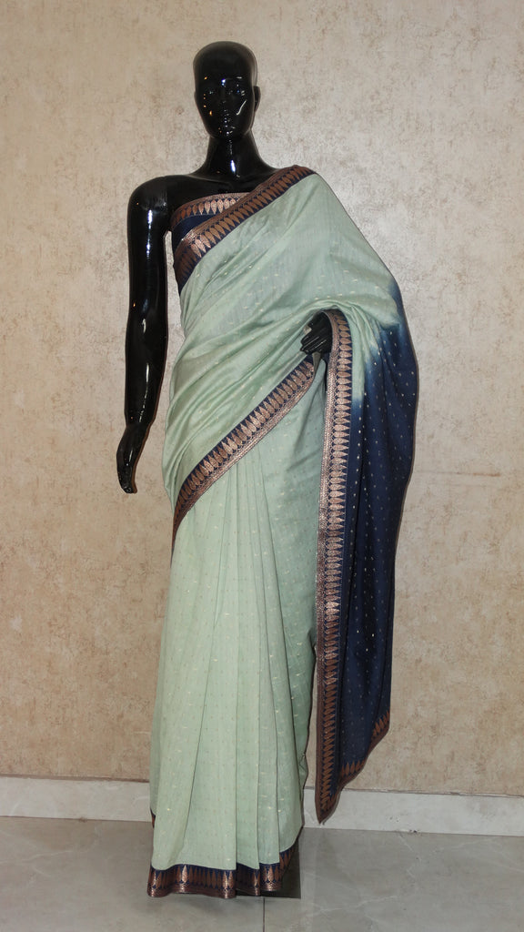 Chanderi Cotton with woven Motifs - Mint Green Saree