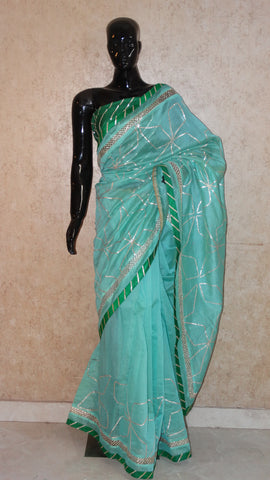 Turquoise Green Chanderi Silk Saree with Contemporary Gota work