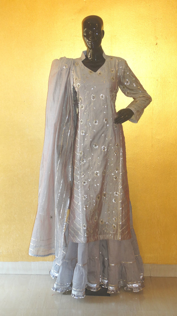 Grey Chanderi Silk Gota Patti Kurta and Gharara Set