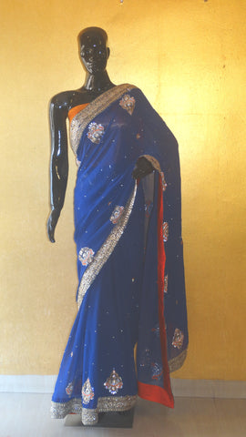 Pure Georgette Hand Embroidered Royal Blue Saree