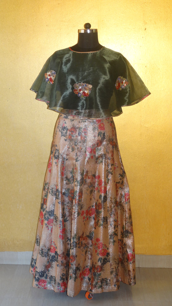 Floral Skirt with Cape