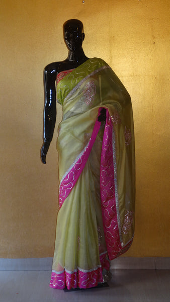 Pure Kota Silk Kundan and Kaccha Gota Saree