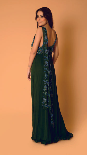 Bottle Green Sitara Drape Georgette Gown
