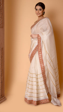 Off-white Sitara Lakeer Saree