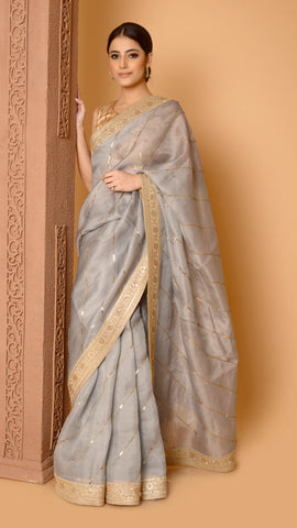 Ash Grey Sitara Leheriya Saree