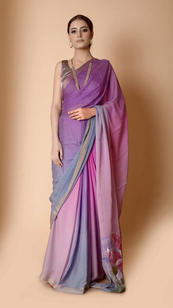 Pure Georgette Silk Mauve and Grey Saree - Hand painted lotus pond on pallu