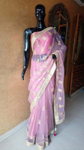 Pink Net Saree with Kundan motifs