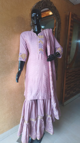 Lilac Chanderi Silk Gota work Kurta and Gharara Set