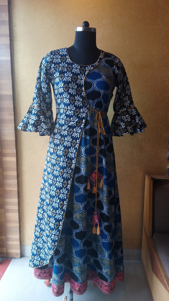 Blue Mustard Block Print Dress