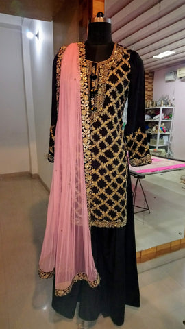 Black Crepe - Heavy Embroidery Sharara Suit