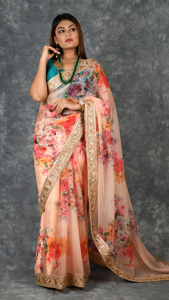 Peach Floral Saree