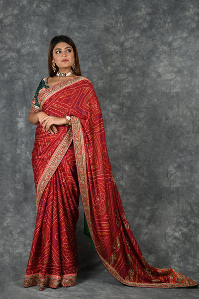 Ruby Red Bandhani Saree