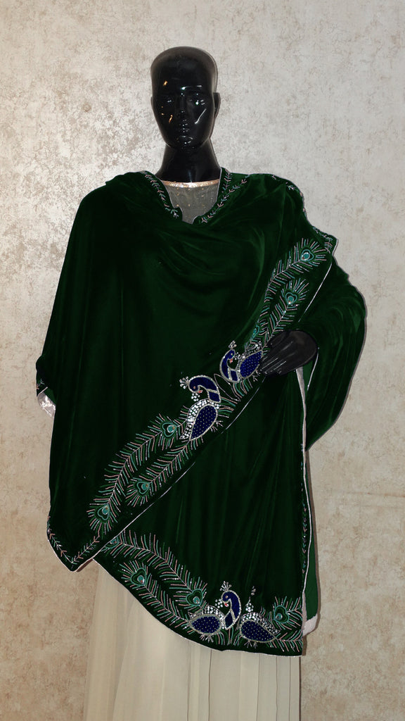 Bottle Green Velvet Shawl - Peacock Pair Hand Embroidered