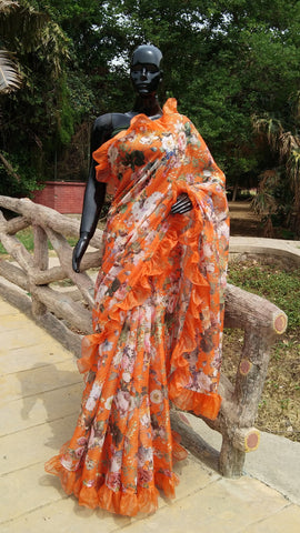 Orange Organza Saree with Floral Print and Ruffle Finish