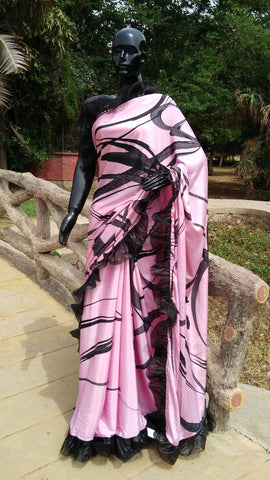 Lavender Crepe Saree with Abstract Print and Ruffle Finish