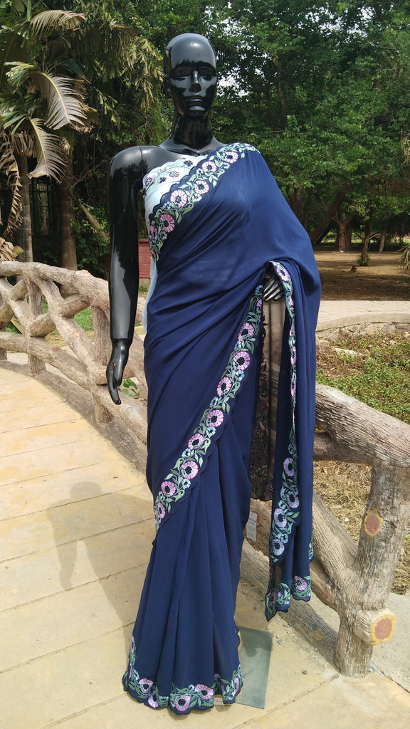 Navy Blue Georgette Saree - Floral Embroidery Border with Scallop Finish