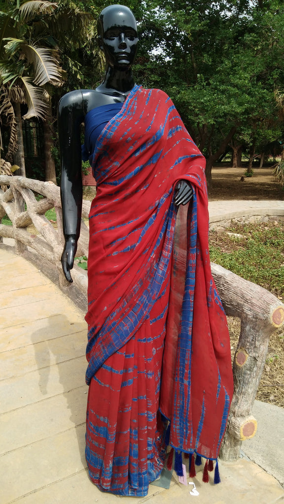 Red and Blue Shibori - Georgette Saree