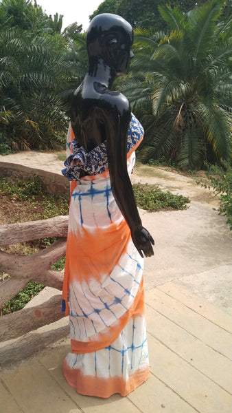 Mulmul - Orange n Blue Tie n Dye Saree