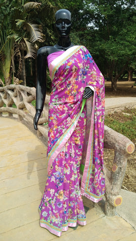 Floral Print  Lilac Georgette Saree
