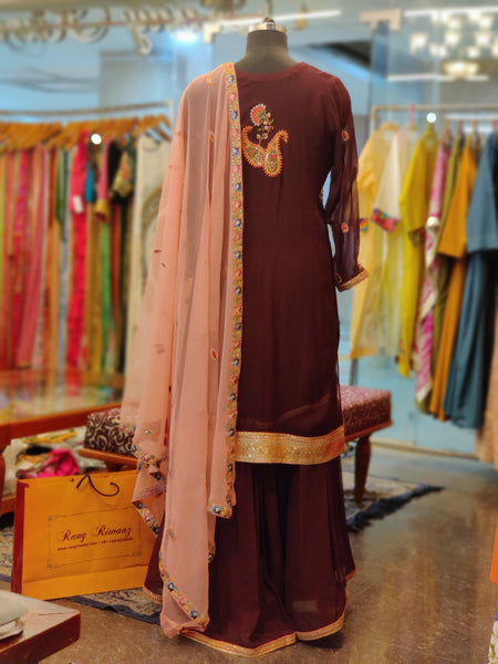 Brown Gharara Suit