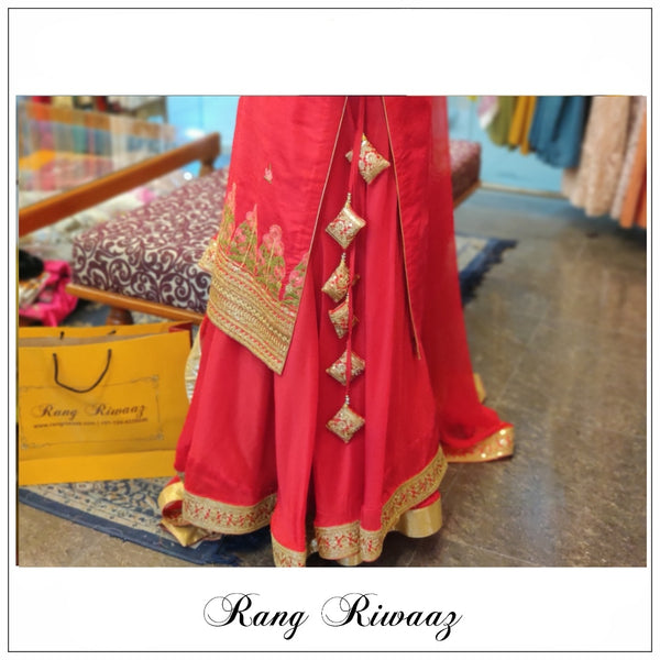 Red Sharara Suit
