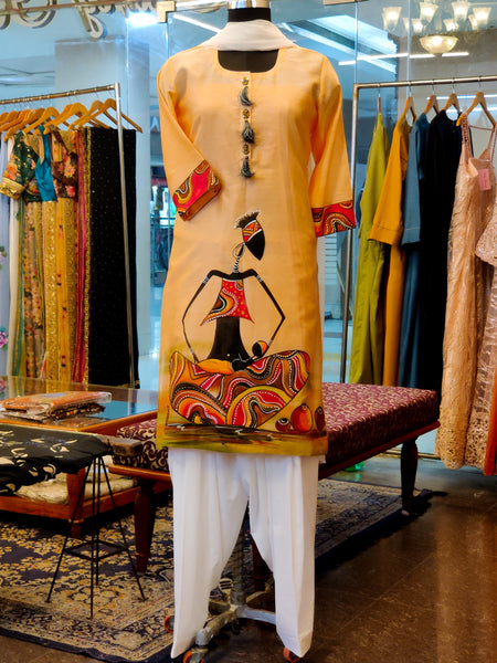 Peach Chanderi Hand Painted Kurta Suit