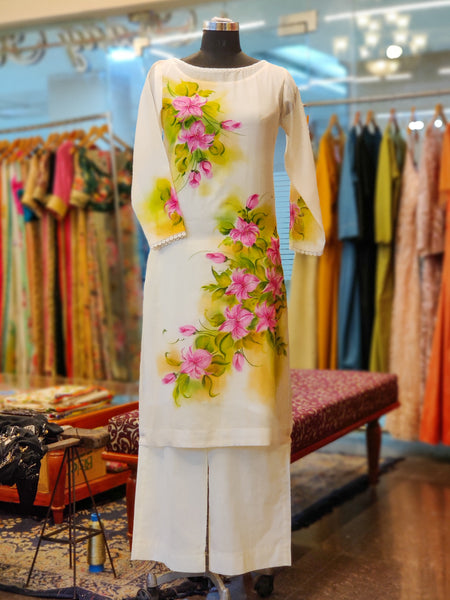 Off-white Hand Painted Floral Kurta Set