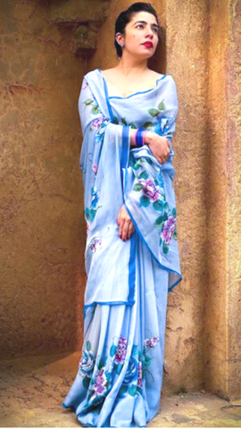 Hand Painted Sky Blue Saree