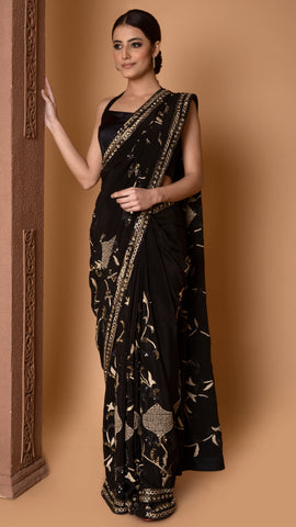 Abstract Pattern Shades of Gold Saree