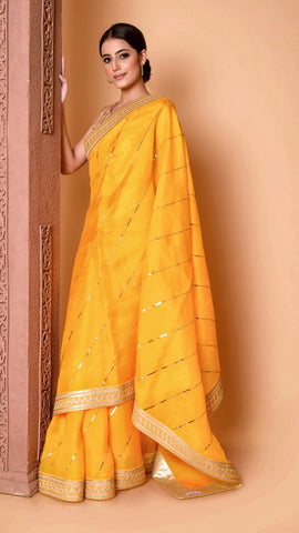 Yellow Sitara Leheriya Saree