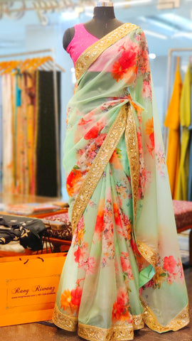 Sea Green Floral Print Organza Saree