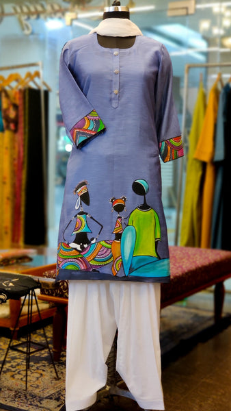 Grey Chanderi Hand Painted Kurta Suit