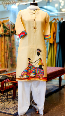 Butterscotch Yellow Chanderi Hand Painted Kurta Suit
