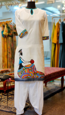 White Turquoise Chanderi Hand Painted Kurta Suit