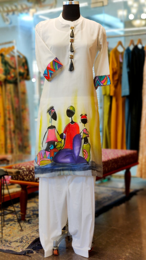 White Lime Chanderi Hand Painted Kurta Suit