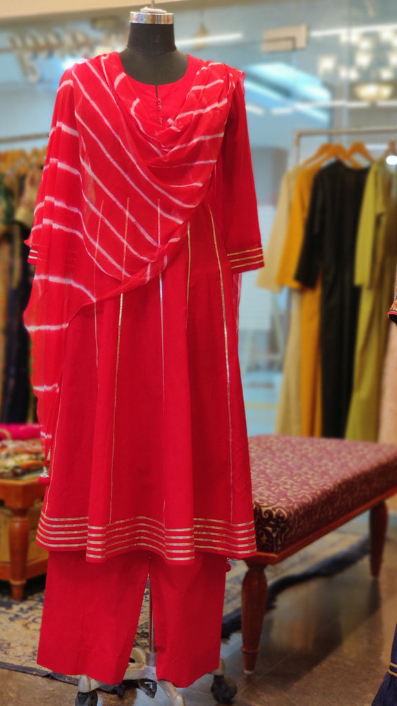 Red Cotton Anarkali Suit