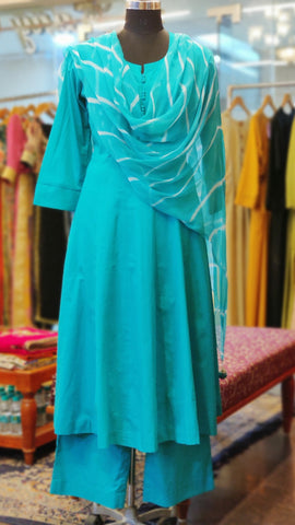 Turquoise Cotton Anarkali Suit