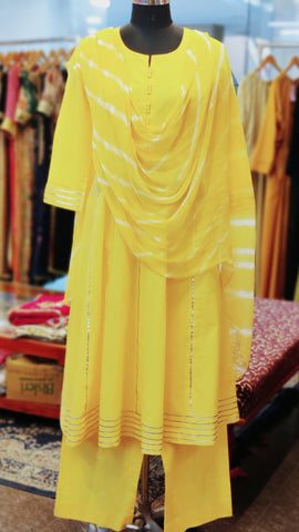 Yellow Cotton Anarkali Suit