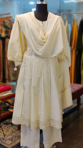 Off-white Cotton Anarkali Suit