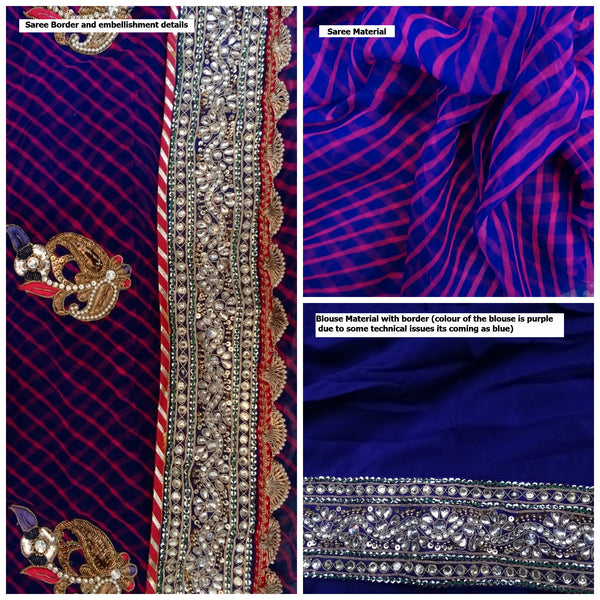 Pure Chiffon Purple Magenta Lehariya Saree - Kundan Border,  Zari Pearl kangoora and embellishments