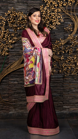 The Royal Grooming – Wine Saree