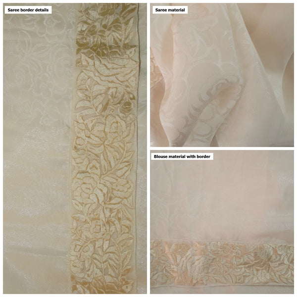 Pure Crepe Silk and Shimmer White Saree - White Parsi Gara Border