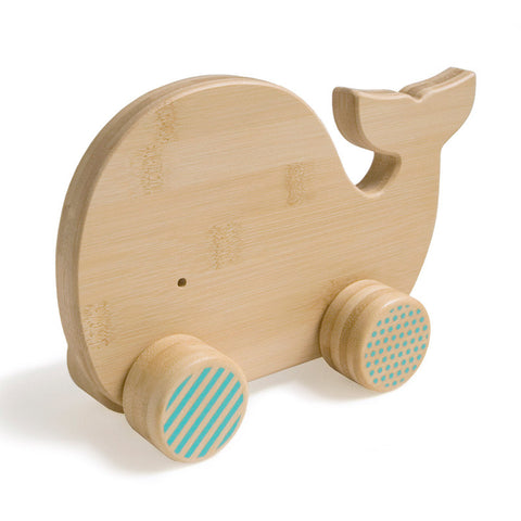 Petit Collage: Mighty Bamboo Push Toy in 'Whale' (Eco-friendly)