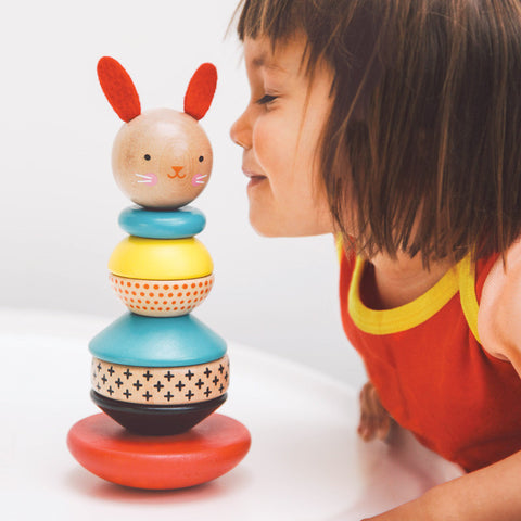 Petit Collage: Modern Bunny Wooden Stacking Toy (Eco-friendly)