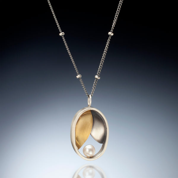 Mixed Metal Oval Leaf Necklace - Kinzig Design Studios