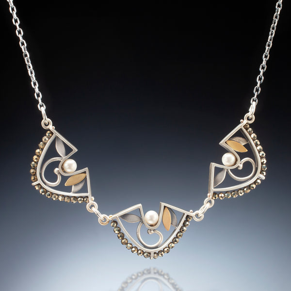 Mixed Metal 3 Piece Fan Necklace - Kinzig Design Studios