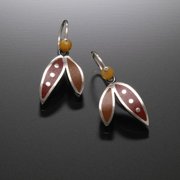Two Leaf Earring (red) - Kinzig Design Studios